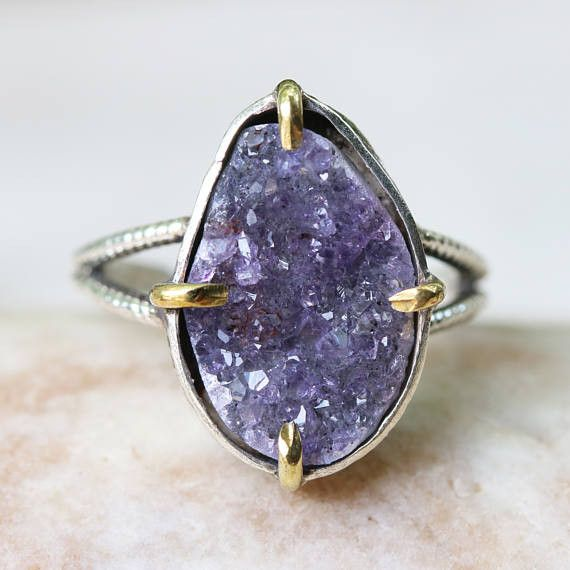 Teardrop purple Brazilian druzy ring in silver bezel and brass prongs setting with sterling silver double design band Free resizing  Gemstone measures: 11 mm W x 17 mm H  ~Shipping Note~ All...