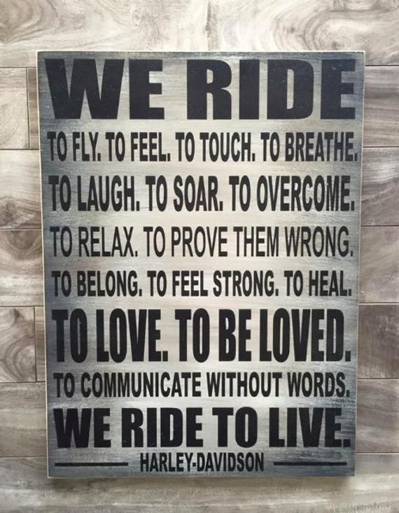 Items similar to Harley Davidson Motorcycle sign  –  Live to Ride – 14″x19″ on E…
