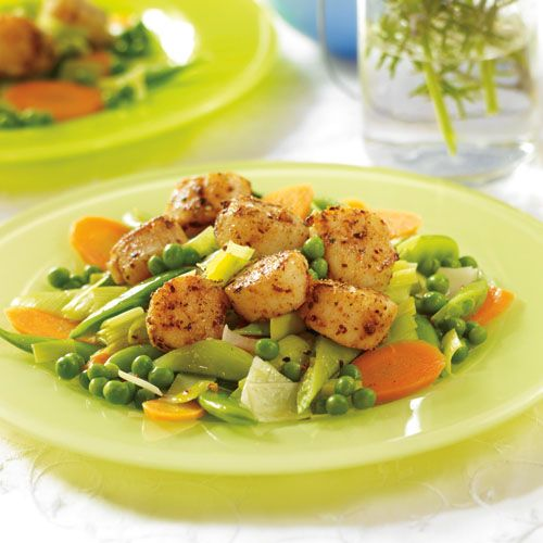 harissa spiced scallops with spring vegetables 20 g