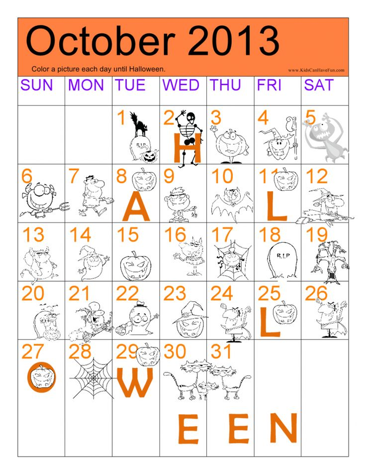 Halloween Countdown 2013 Calendar, Halloween Pictures to Color