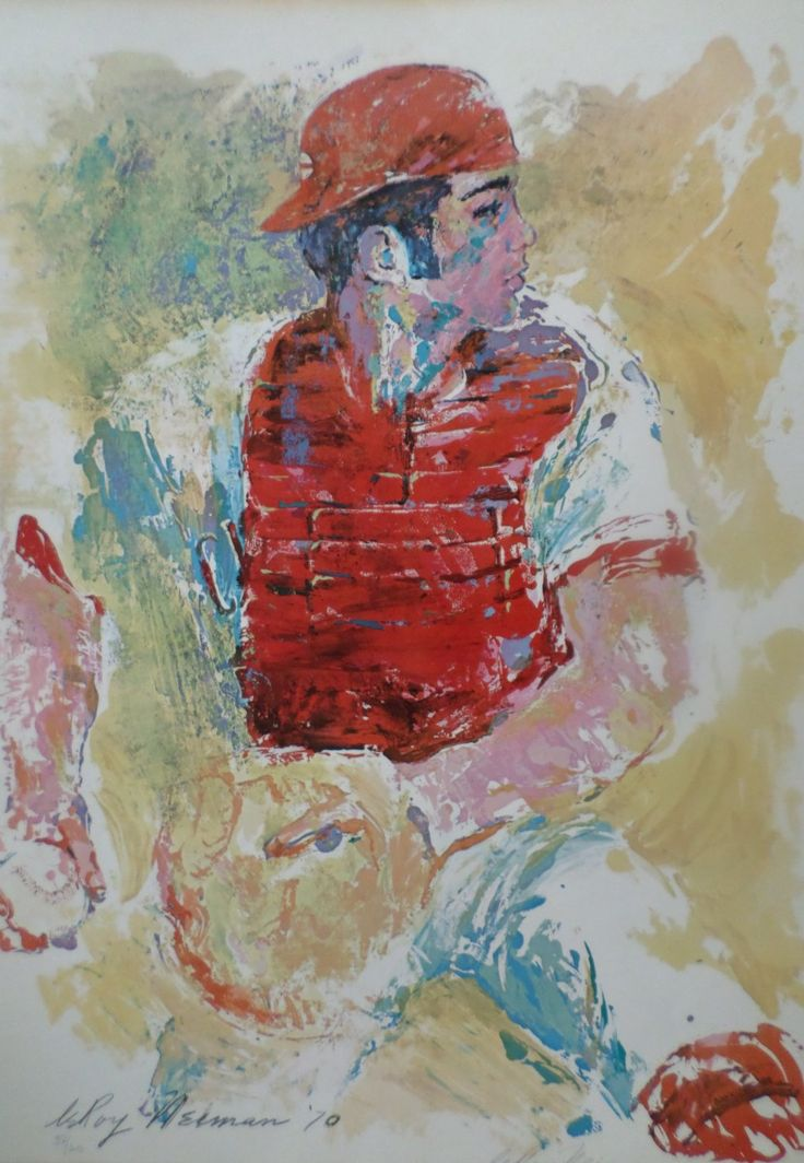 Signed LeRoy Neiman Art JOHNNY BENCH MLB Cin. Reds HOF