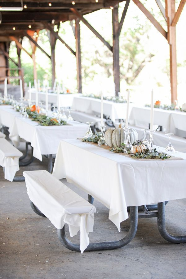 campground reception - photo by Jenny Smith and Co http://ruffledblog.com/pumpkin-themed-fall-wedding