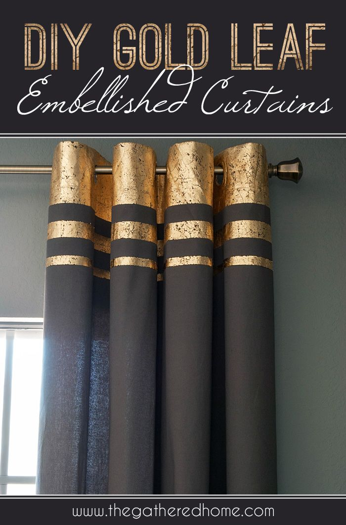 Did you know you could use gold leaf on fabric?! Take a plain pair of curtains and turn them into a glamorous decorating statement with this easy tutorial for gold leaf embellished curtains. The design possibilities are endless with a simple tape masking technique! www.thegatheredhome.com