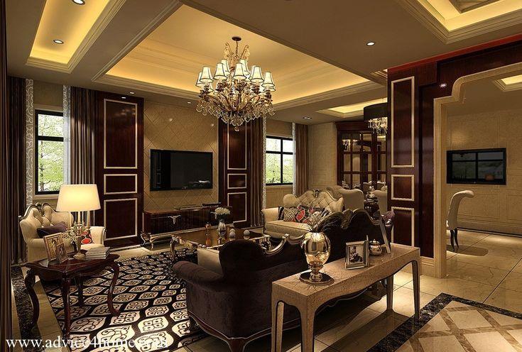 Cream pop ceiling design and brown cream sofa set design - Brown living room furniture ideas ...