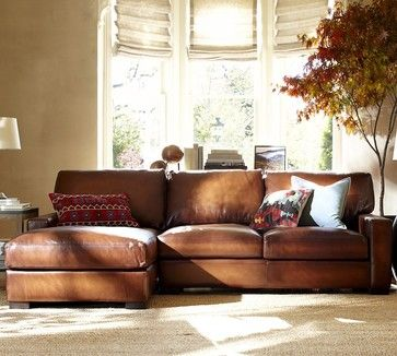 Turner Leather 2 Piece Sectional With Chaise   Traditional   Sectional  Sofas   Other Metro