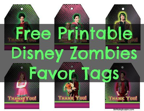 Free Printable Disney Zombies Favor Tags Zombie birthday