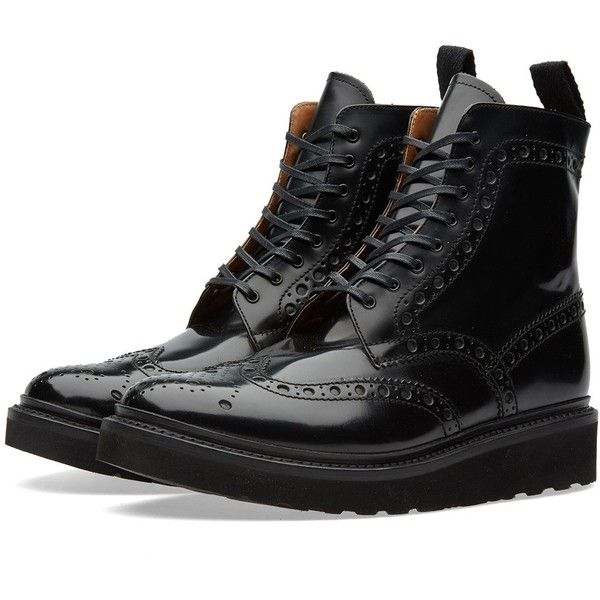 Grenson Fred V Brogue Boot ($215) ❤ liked on Polyvore featuring men's fashion, men's shoes, men's boots, shoes, boots, menswear - shoes, mens brogue boots, mens lightweight running shoes, grenson mens shoes and mens leather boots