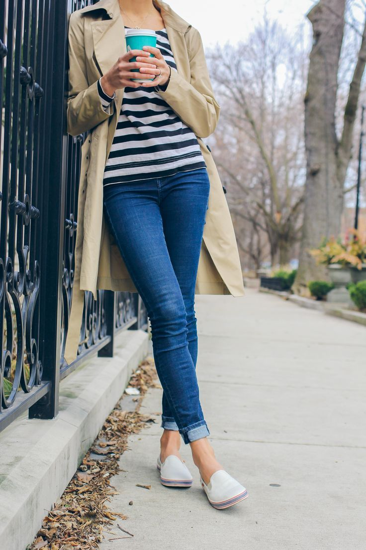 trench coat, Keds slip-ons, striped tee, casual outfit via @TheFoxandShe