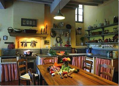 Fransız country mutfaklarda renk seçimi