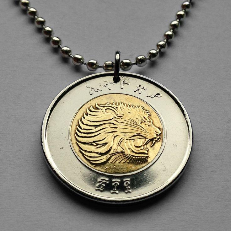 Ethiopia 1 Birr coin pendant Ethiopian Lion of Judah necklace roaring Rastafari Rasta Jamaica East African wild Leo king jungle n001620 by coinedJEWELRY on Etsy