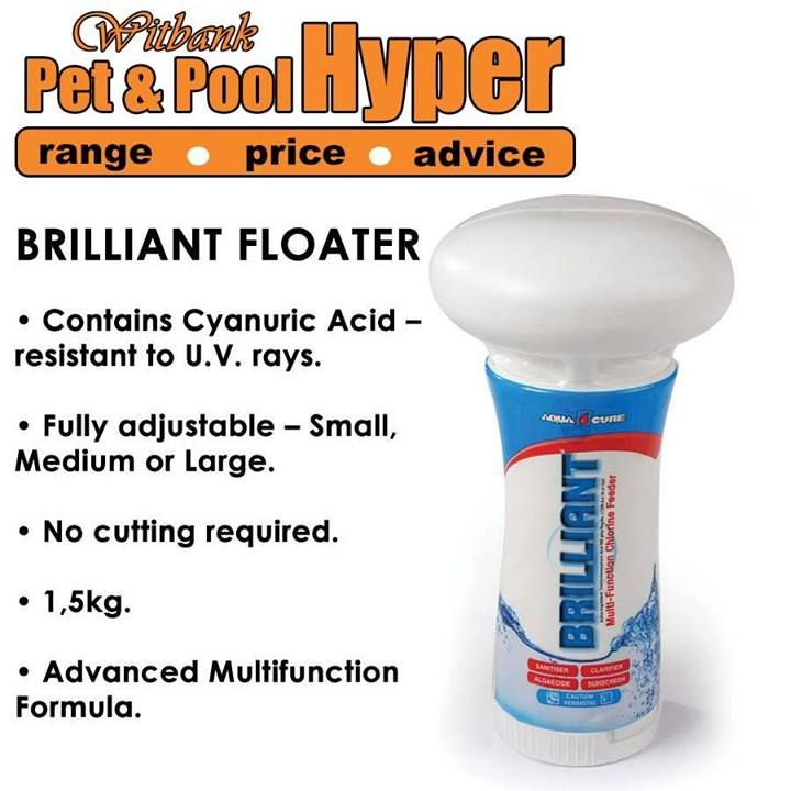 Keep your pool sparkling clean with our Aquacure Brilliant floaters available from Pet & Pool Hyper Witbank #swimmingpool #poolfloaters