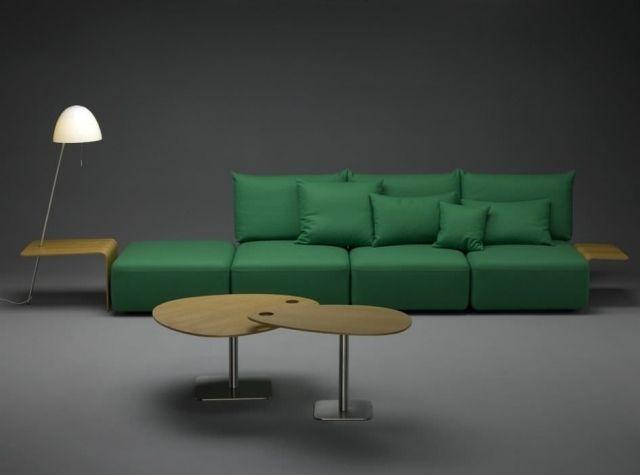 un canapé modulable de design élégant en vert