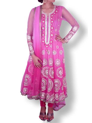 Pink Shaded Net Anarkali with Gold/Silver Gota Work | Sweta Sutariya
