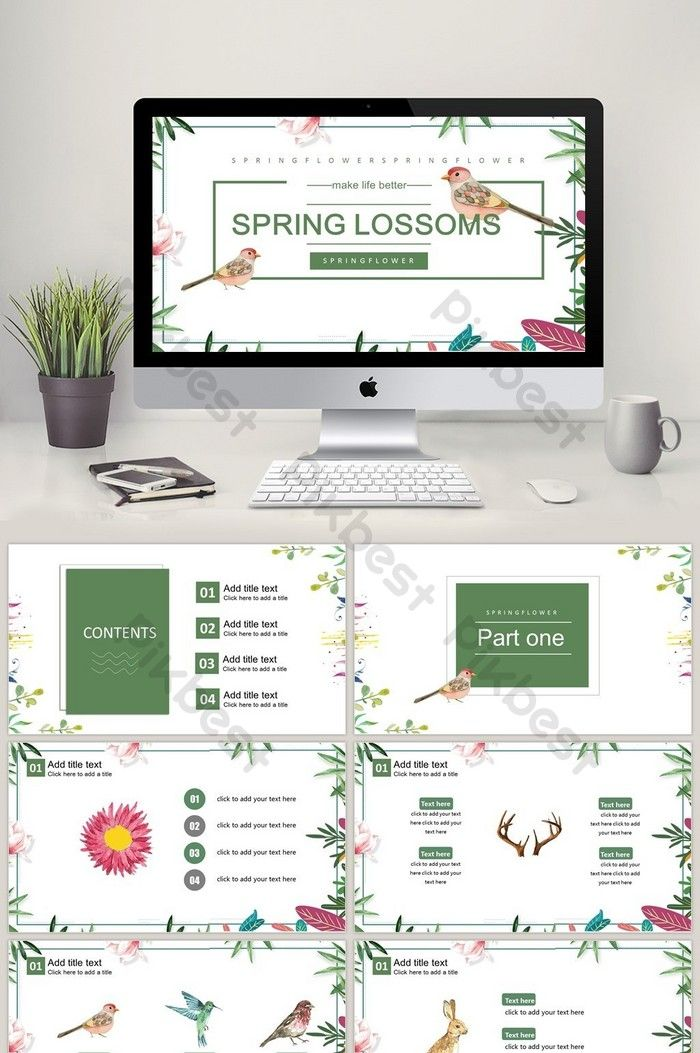 2018 Spring Flowers Ppt Template Powerpoint Pptx Free Download Pikbest Powerpoint Design Templates Ppt Template Powerpoint