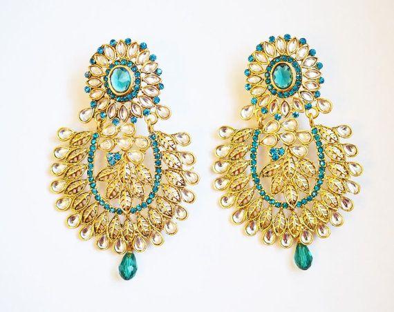 Gold tone chandelier earrings green crystal by BeautifulByBetter