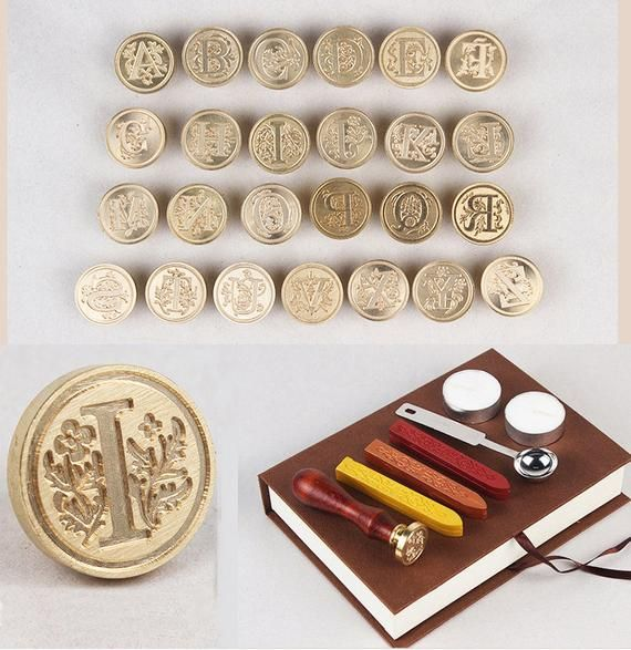 A-Z Initial Alphabets Letter Wax Seal Stamp Sets with wood handle Wax seal Kit Wedding Gift Envelope with Gift Box