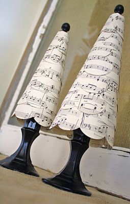 ~ sheet music + circle punch = adorable tree ~  A little gift of thanks for our fave music teacher, perhaps?