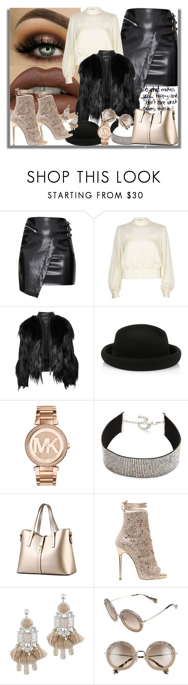 """""""Do what makes you happy, and don't care what others think."""" by lady-williams ❤ liked on Polyvore featuring River Island, Elizabeth and James, Monsoon, Michael Kors, WithChic, Giuseppe Zanotti, Elizabeth Cole and Miu Miu"""