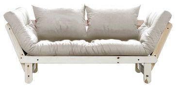 Beat Convertible Futon Sofa/Bed, Natural Frame, Natural Mattress contemporary-futon-frames