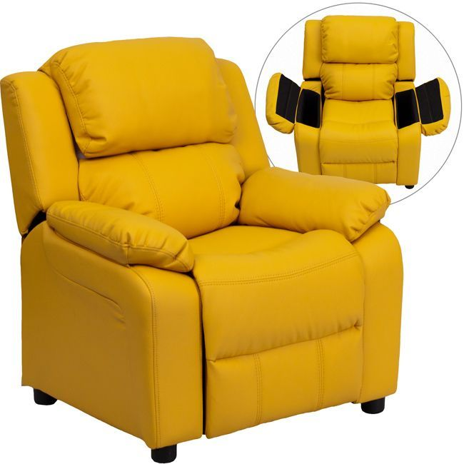 Flash Furniture Deluxe Heavily Padded Contemporary Vinyl Kids Recliner with Storage Arms