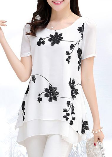 Layered Round Neck Short Sleeve Flower Print Blouse on sale only US$30.16 now, buy cheap Layered Round Neck Short Sleeve Flower Print Blouse at liligal.com