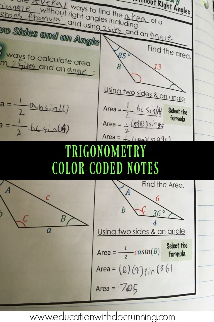 Precalculus Area Of Nonright Triangles Using Trigonometry Interactive  Notebook