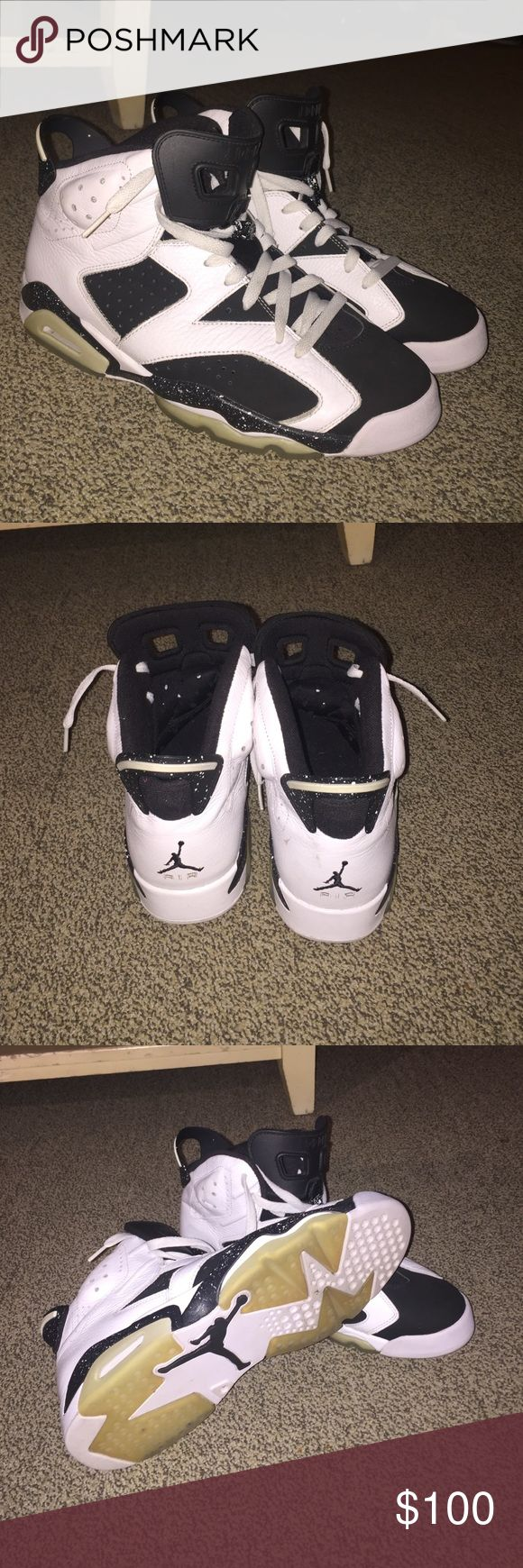 Air Jordan 6 Oreo Jordan Oreo 6's moderately worn. In good condition. Minor blemish on back of right shoe. Otherwise kept very clean. Jordan Shoes Sneakers