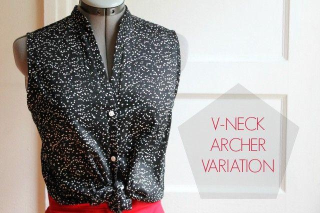 Four Square Walls   archer shirt variation: v-neck placket