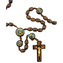 Mens Womens Catholic Gift Archangel Saint St Michael 10MM Wood Bead Cord Rosary Necklace with Holy Prayer Card