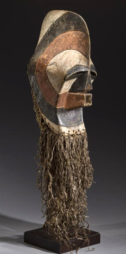 Africa | Male Kifwebe mask from the Songye people of DR Congo | Wood, pigment and fiber