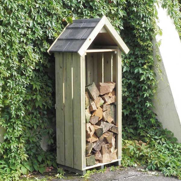 2ft Wide High Hinton Log Store with Tiled-Roof - 6ft tall