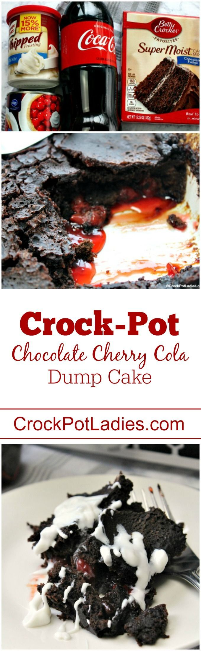 Crock-Pot Chocolate Cherry Cola Dump Cake - With just 4 ingredients this easy to make dessert recipe for Crock-Pot Chocolate Cherry Cola Dump Cake could not be simpler to make and the flavor is out of this world!