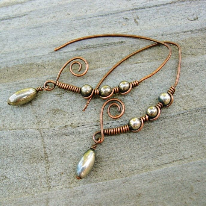 Antiqued Copper & Silver Marquise Shaped Wrapped Hoops