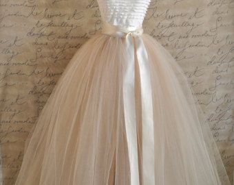 Full length champagne tulle skirt. Champagne tulle lined in champagne  for women. Weddings and formal wear.
