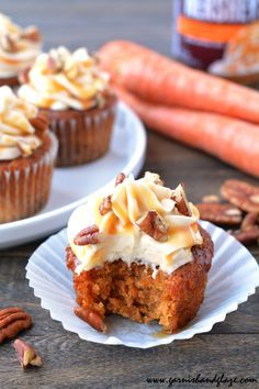 Moist carrot cake with silky smooth cream cheese frosting, topped with caramel and pecans.