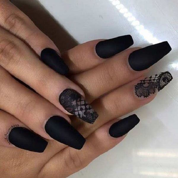 50 Black And White Coffin Nail Design Ideas Beauty Life Tips Nail Summer Design Gel Pretty Bright Black Lace Nail Design Lace Nails White Lace Nails