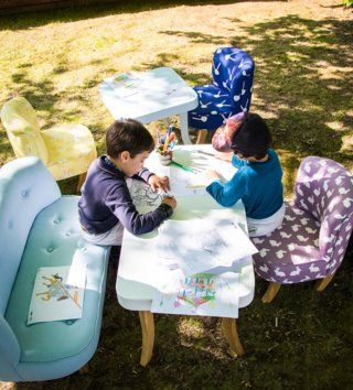 Stolíky / Luxusný modrý stolík štvorec