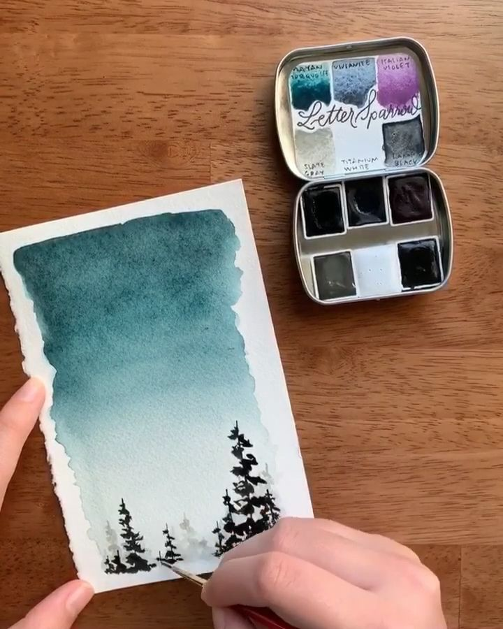 Watercolor night time sky tutorial