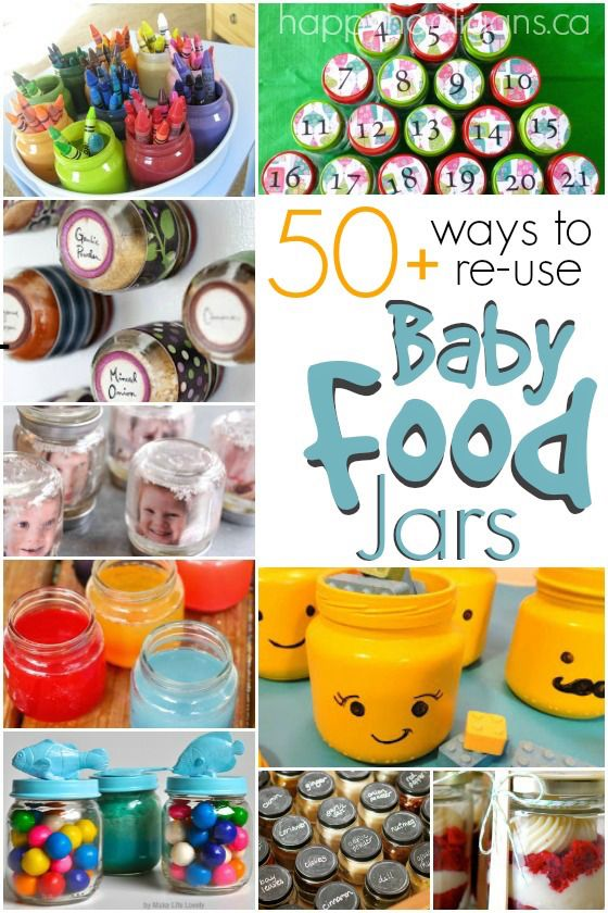 50+ Ways to Re Use Baby Food Jars in the home, craft room, workshop, classroom and garden!  Awesome crafts, great gift ideas and super-handy ways to make use of all those empty baby food jars you've been hanging onto! - Happy Hooligans