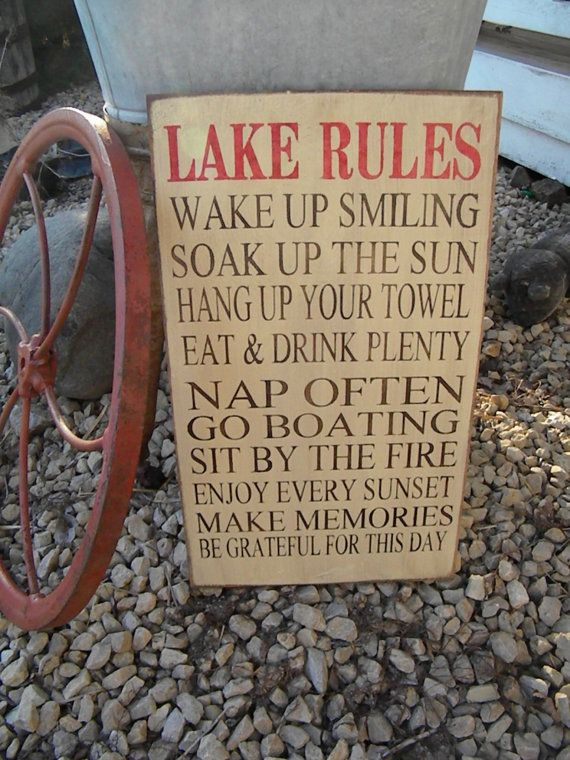 Extra Large Custom Rustic Cabin Lake Cottage Rules by Wildoaks, $50.00