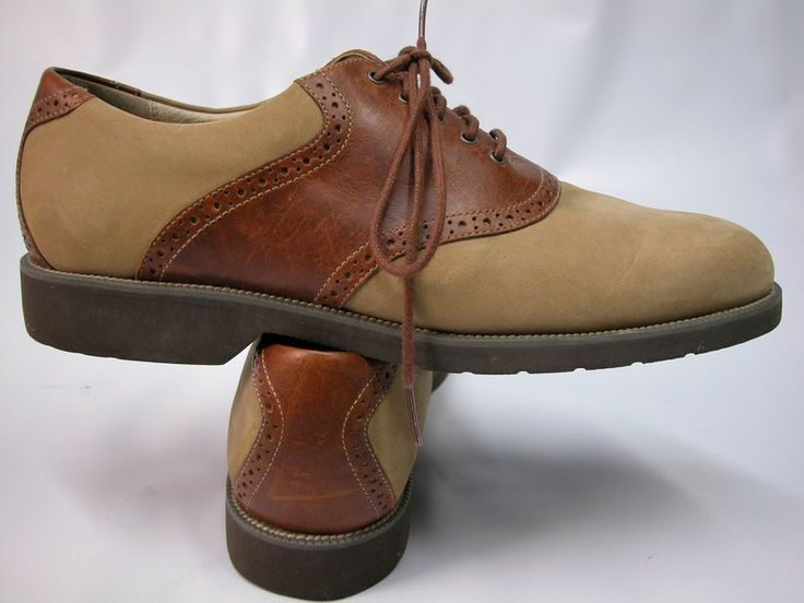 Rockport Brown Leather Tan Suede Mens Golf Style Casual Shoes Sz 11 M # Rockport