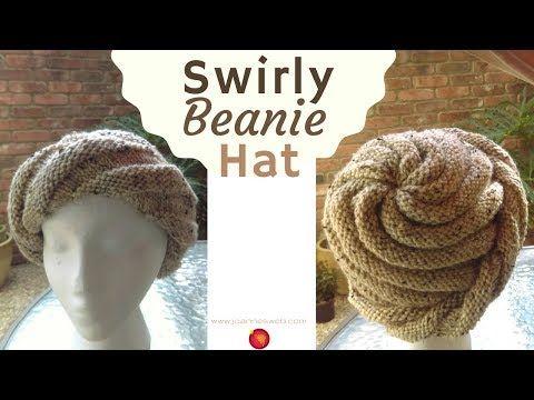 (10) Swirly Beanie Hat - Spiral Knit Hat Pattern - Swirl Knitted Cap Hat - YouTube