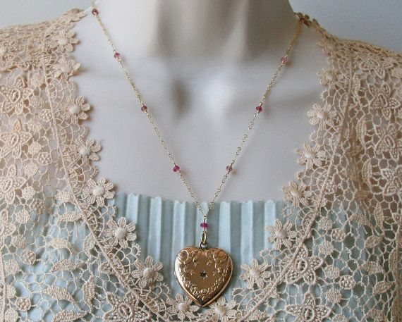Art Nouveau Locket Necklace Gold Heart by EnduringSentiments