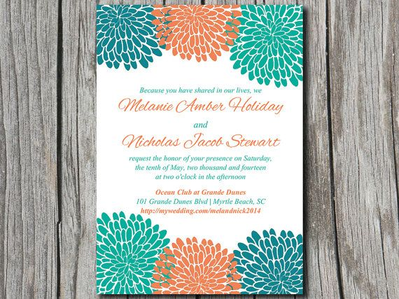 INSTANT DOWNLOAD Chrysanthemum Wedding Invitation Microsoft Word Template | 5x7 Teal Orange Green Wedding Invitation Printable | ANY Color by PaintTheDayDesigns, $7.75