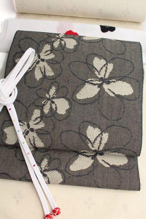 八寸帯山形米沢織モノトーン系お洒落八寸なごや帯「プリムラジュリアン」ジャガード織絹×和紙日本製