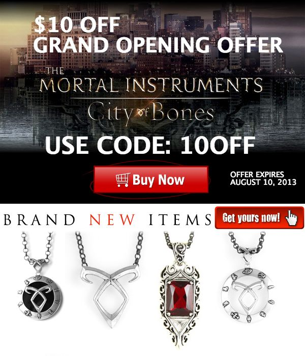 HOT NEW ARRIVALS!  The Mortal Instruments - City of Bones Jewelry - get $10 OFF use coupon code: 10OFF  - http://themortalinstrumentsjewelry.com #Jewelry #Silver #Coupon #TMIMovie #TheMortalInstruments #CityOfBones