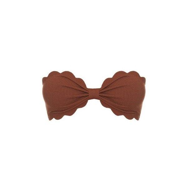 Marysia Swim Antibes scallop-edged bandeau bikini top ($143) ❤ liked on Polyvore featuring swimwear, bikinis, bikini tops, brown, bandeau bikini top, scallop bikini, swim tops, scalloped bandeau bikini and brown bikini