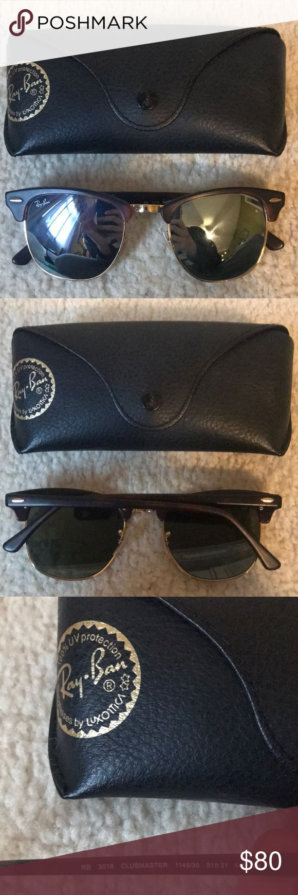 Club-master Raybans Reflective lenses club-master style authentic Raybans! Excellent condition, barely worn with minimal scratches. Perfect addition to any outfit! Ray-Ban Accessories Sunglasses