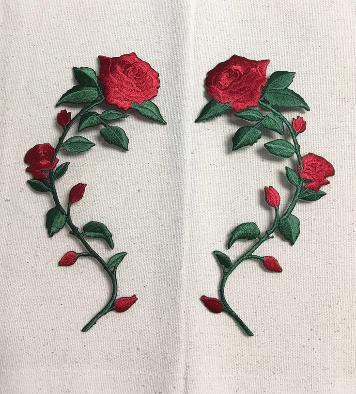 Large - Red Rose - Open Petals on Long Stem - Flowers - Facing LEFT or RIGHT - Iron on Applique - Embroidered Patch - 695735 by WholesaleApplique on Etsy https://www.etsy.com/listing/398844185/large-red-rose-open-petals-on-long-stem