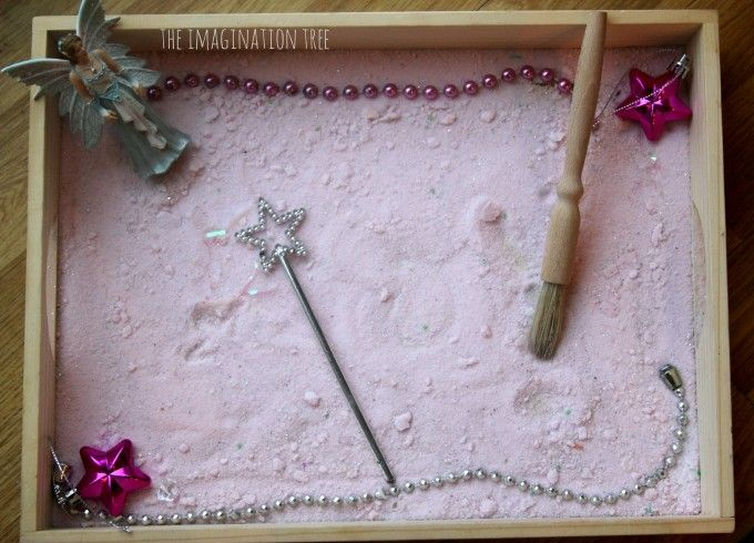 Invitation to play with fairy dust sensory tray